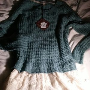Knit Pullover Sweater Lace Layer Sweater